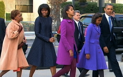 The Obamas at The Inauguration - synchronized dressing